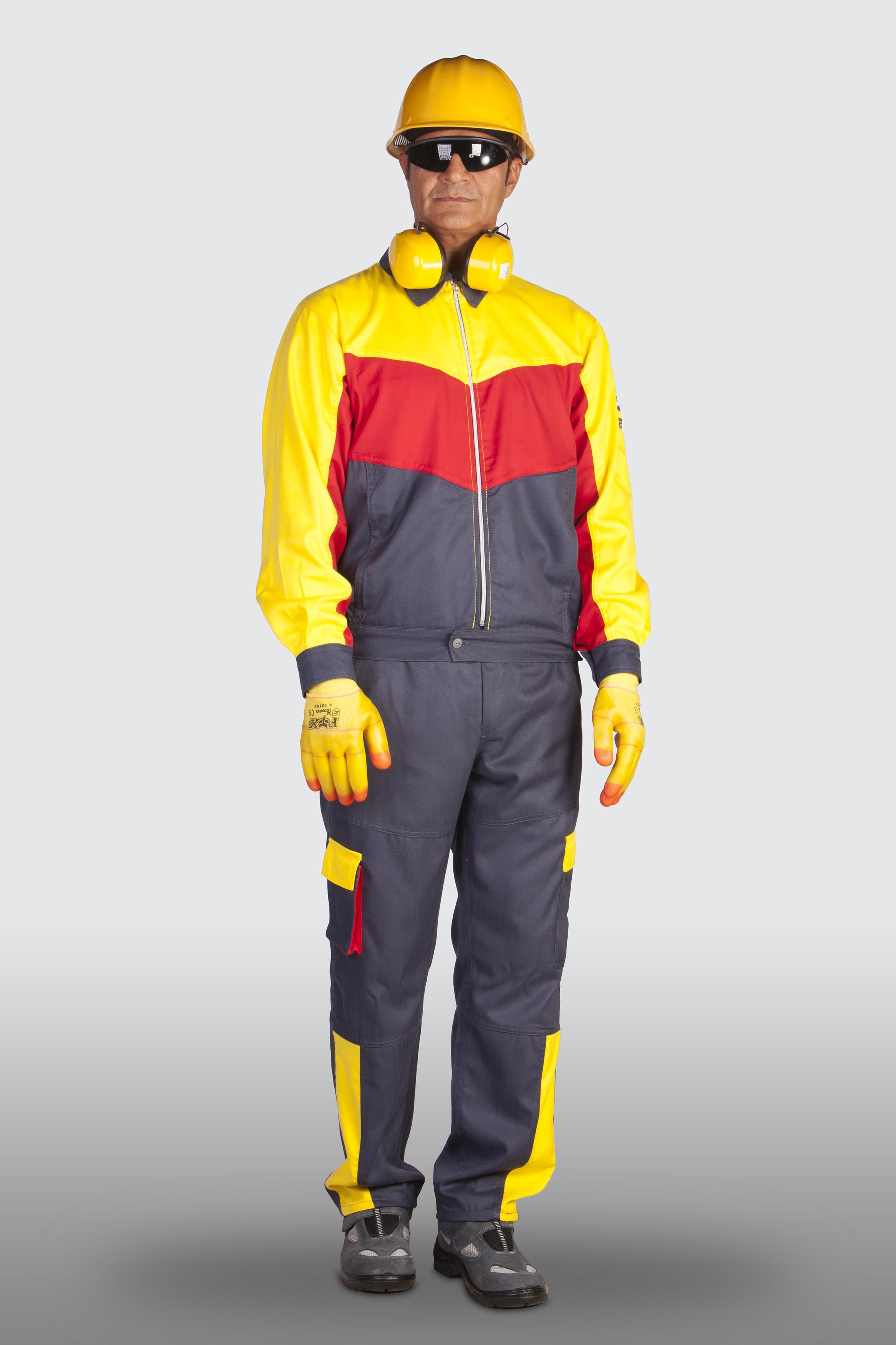 لباسکار دوتکه آراد طوسی زرد قرمز [سایز:S رنگ:طوسی زرد قرمز ]